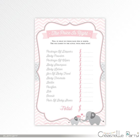 photograph relating to Baby Shower Price is Right Printable referred to as Red elephant the charge is specifically, boy or girl shower recreation printable