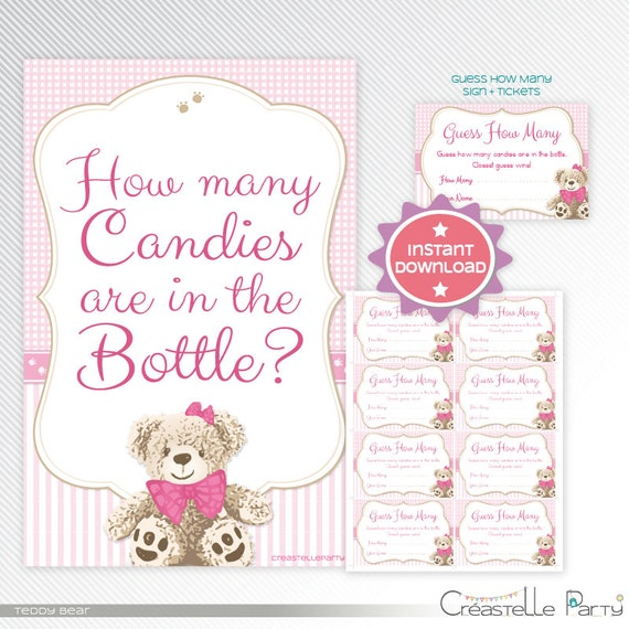 Pink Teddy Bear Baby Shower: Pink Teddy Bear Guess How Many, Baby Shower Game Printable