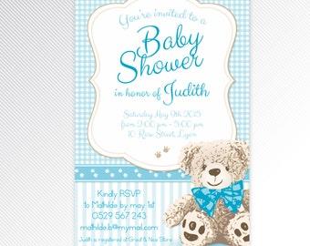 Blue teddy bear baby shower digital invitation
