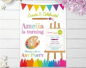 Art Invitation, art party invite, painting party, artist invitation, art birthday party printable invitation, rainbow digital invite