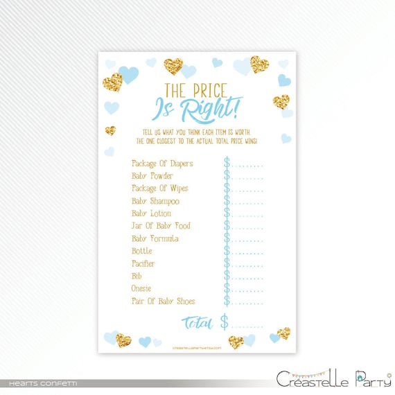 picture about Baby Shower Price is Right Printable titled Hearts confetti the cost is specifically, gold glitter and blue