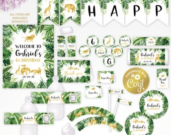 Gold jungle animal, safari  editable party decor package, tropical greenery printable, digital party supplies, edit template with CORJL