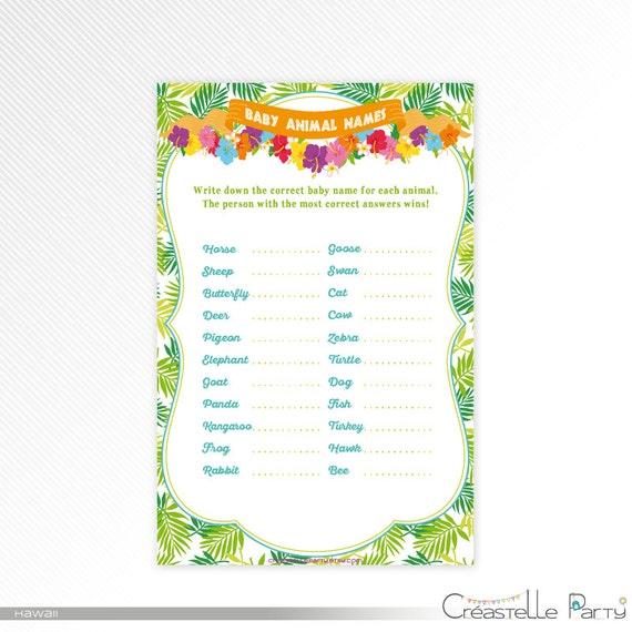 Hawaiian Luau Baby Animal Name Game Tropical Baby Shower Printable