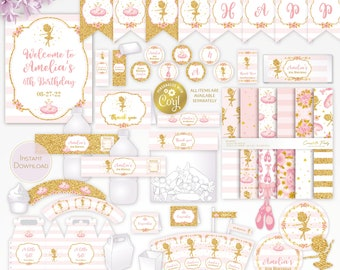 Ballerina editable party decor package, pink and gold ballet printable, digital party supplies bundle, edit template with CORJL