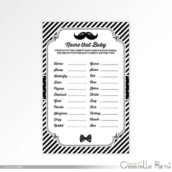 Black Little Man Baby Animal Names Game Baby Shower Printable Game