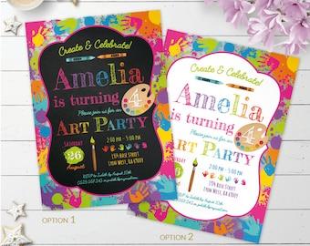 Art Invitation, art party invite, painting party, artist invitation, art birthday party printable invitation, rainbow invitation