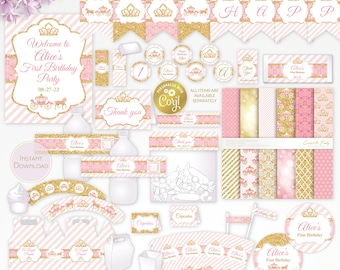 Princess, pink and gold glitter editable party decor package, royal printable, digital party supplies, edit template with CORJL
