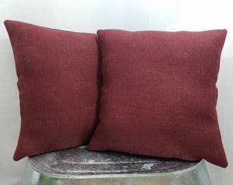 Custom made farmhouse rustic solid color burgundy maroon burlap pillow  cover sham. Multiple sizes to choose from. a8c68b222