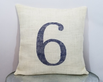 Custom made ivory cream burlap personalized number or letter navy blue (or  custom color) pillow cover sham - Customize size color option! 2f4b0433b