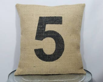 Custom made rustic country natural burlap and black (or custom color)  personalized number pillow cover sham. Custom sizes and color option ac80f8c70