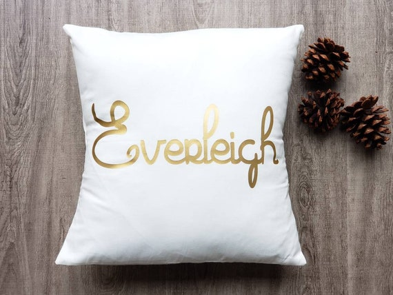 Custom personalized name or word white cotton metallic gold (or custom  color) vinyl print pillow cover/sham  Custom size/color options