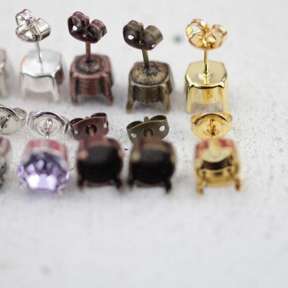 100 paires vide de paramètres de de paramètres boucle d'oreille pour Rivoli Swarovski Cristal n ° 1122 ou 1088 - gros gros 532d87