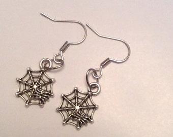 Spider web drop earrings