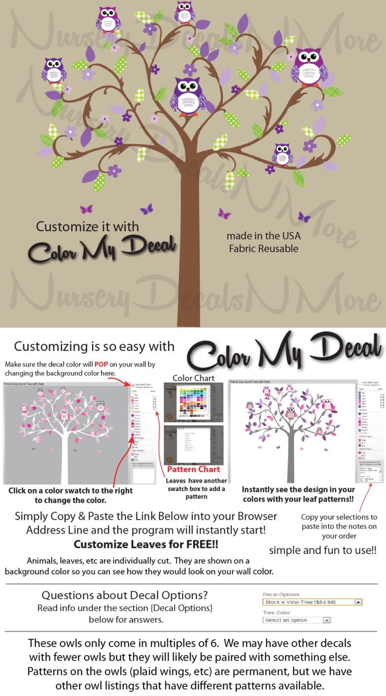 owls wall decals stickers nursery girls Girl Scroll Tree Reg Owls Tree Decal with flowers STWO Scroll Tree Reg Owls Purple Green