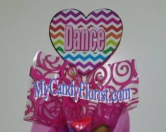 DANCE Giant Candy Wand - DANCE Recital Award - Beautiful Chevron Rainbow 3D Heart Candy Bouquet Award - Elegant, Edible Gift w/ Keepsake Top