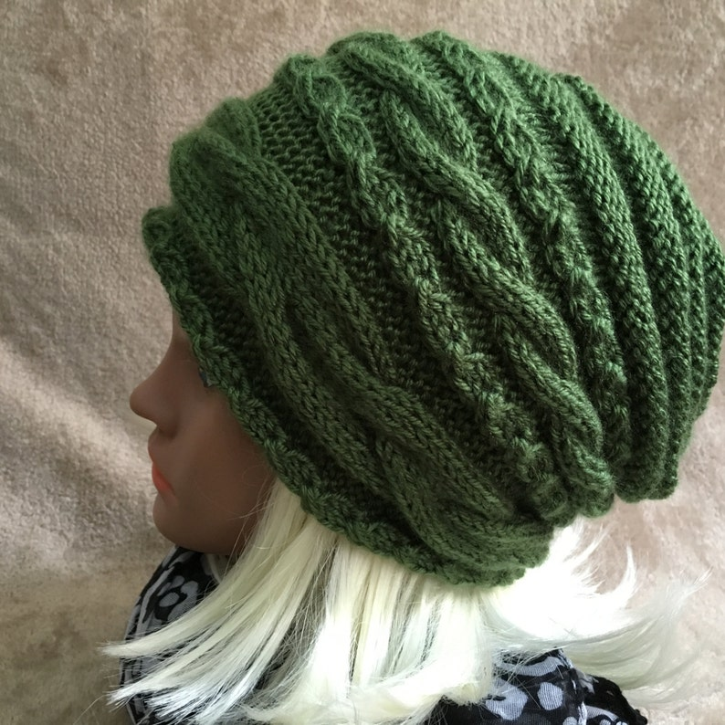Women Hat Hand Made Slouchy Hat Knit Hat Soft Vegan Yarn Beanie Winter Extra Large Hat Cable Knit Nice Gift