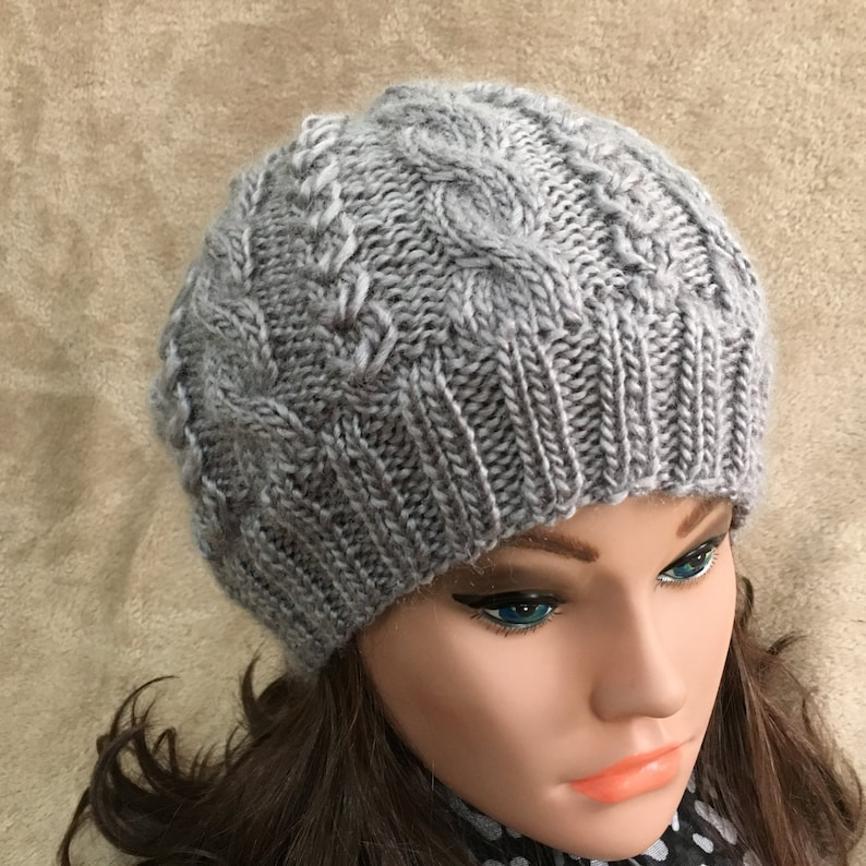 c23e49c6711 Women Hat Hand Made Cable Knit Hat Wool Blend Soft Yarn Beanie