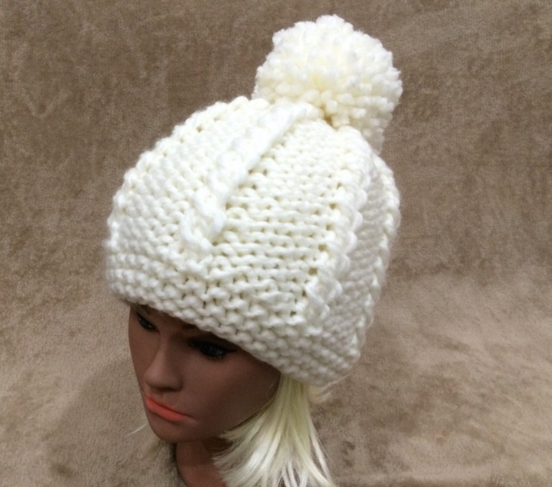 729dd819748 Women Hat Hand Made Knit Big Pom Pom Hat Wool Blend Alpaca