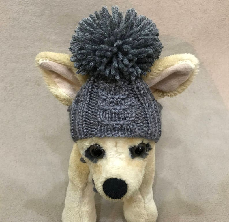 e0de172760e Pet Clothes Hat for Small Dog Hand Knitted Hat with Big Pom