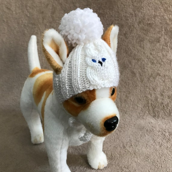 466c04eb57d Pet Clothes Apparel Winter Hat for Small Dogs Hand Knit White