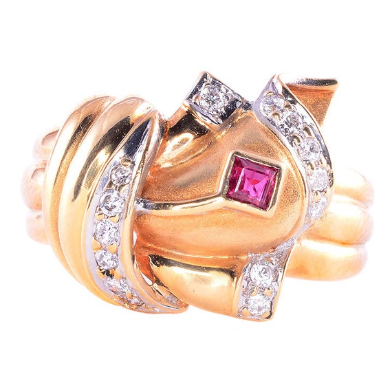 Retro Ruby and Diamond Ring - Vintage Ruby Ring -