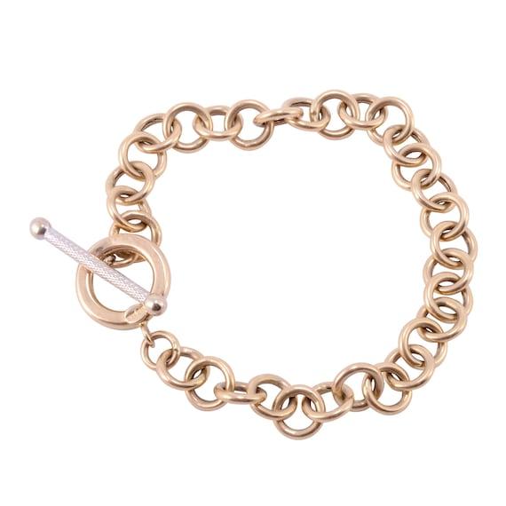 "Two Tone Gold Circle Link Bracelet - 8"""