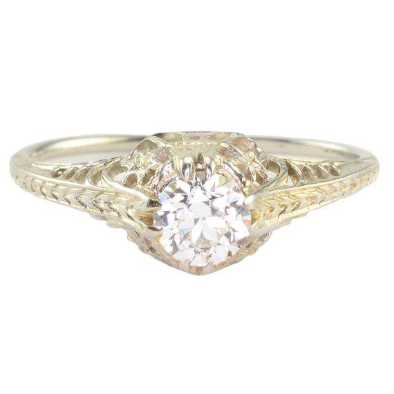0.38 Carat Art Deco Engagement Ring , 1920s Engagement Ring, Vintage  Diamond Engagement Ring, Vintage Engagement Ring