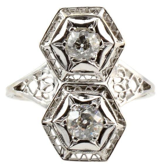 0.70 CTW Art Deco Diamond Ring - Vintage Filigree