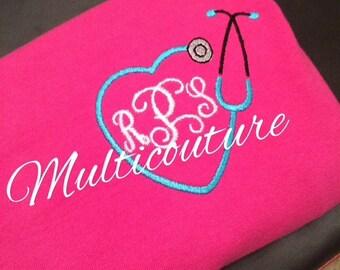 T-Shirt: Monogrammed Stethescope & Initials Nursing Short Sleeve Shirt