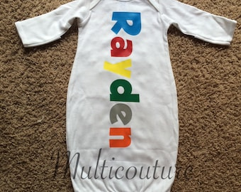 Infant Layette: Multicolored Name Down Layette