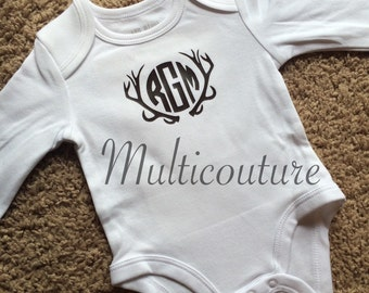Antlers with Inset Initials Baby Onesie