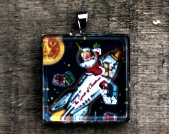 Retro Santa Necklace Christmas Spirit Necklace White Jewelry Gift for Him or Her Printed on Recycled Paper Under Glass Shield