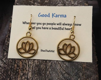 Lotus Flower Earrings, Good Karma Jewelry, Quote Gift- Bridesmaids Gift - Friendship Jewelry - Bridal Party Gift, Mother's Day Gift, For Her