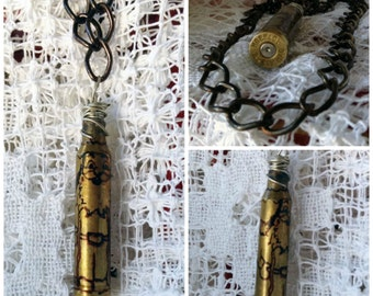 Goth Wizard Necklace - Steampunk Wizard Necklace - Wizard Spent Bullet Shell Necklace for Unique People - unique jewelry for Him or Her