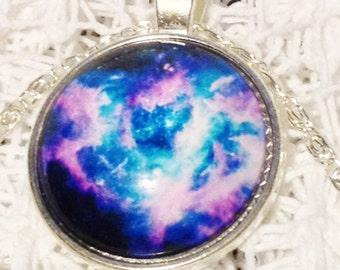 Galaxy Necklace Pink and Blue Nebula Galaxy Necklace White Jewelry Star Gazer Gift