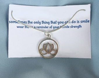 Silver Lotus Necklace Karma Wisdom Jewelry With Quote - sometimes the only thing that you can do is smile - Personalized Gifts