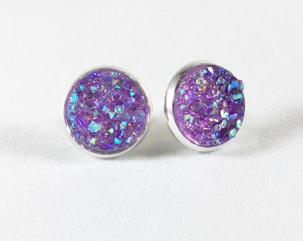 Purple Druzy Stud Earrings - Sparkle Shiny Iridescent Color Changing Earrings - wedding bridal jewelry - prom - gift for her