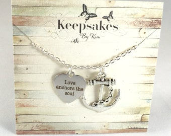 Love Anchors the Soul Necklace | Stainless Steel Laser Etched Anchor Heart | Anchor sea heart charm necklace