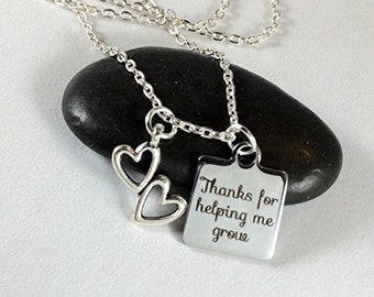 Thanks for helping me grow charm necklace, gift for her, gift for teacher helpers aides educators caregivers daycare workers, gift for mom