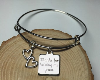 Thanks for helping me grow charm bangle, gift for her, gift for teacher helpers aides educators caregivers daycare workers, gift for mom