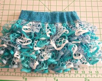 Baby or toddler ruffled skirt. Turquoise blue & white.