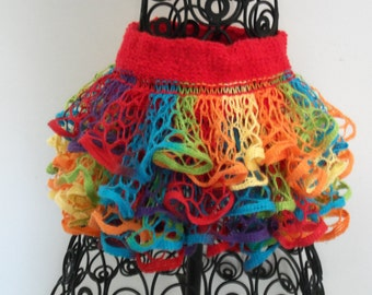 Ruffled skirt...multicolor with red waistband