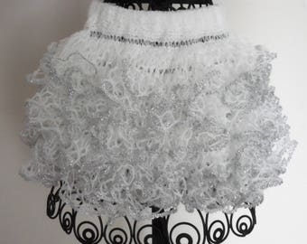 Baby or toddler ruffled skirt...white with silver sparkle