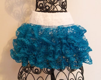Baby or toddler ruffled skirt. Turquoise and white.