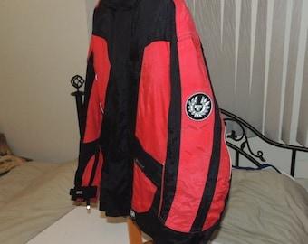 Vintage Belstaff Belfex Plus Padded Racing Motorcycle Jacket Size Red/Black Med