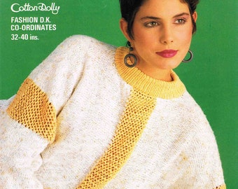8941f9ac1110 Lady s Round Neck Sweater Pullover Jumper - Size 81 to 102 cm (32 to 40  inch) - Studley Cotton Dolly DK 1252 - Vintage Knitting Pattern