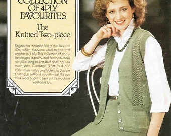 02be65717f1f9 Lady s Cardigan Vest Skirt Suit - Size 81 to 97 cm (32 to 38 inches) -  Patons Clansman 4ply 7003 - Vintage Knitting Pattern