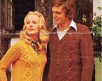 Lady's and Man's Aran Cardigan Jacket - Size 86 to 102 cm (34 to 40 inch) - Lister/Lee Target 9068 - Vintage Knitting Pattern