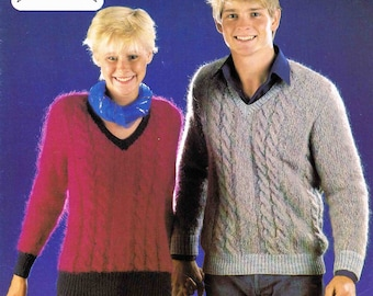 Man's and Lady's V Neck Sweater Pullover Jumper - Size 81 to 97 cm (32 to 38 inch) - Lister Lee Tahiti DK 1720 - Vintage Knitting Pattern