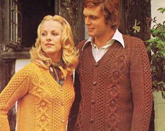 Adult's Lady's Man's Aran Jacket Cardigan - Lee Target 9068 size 86 to 101 cm (34 to 40 inch) - Vintage Knitting Pattern